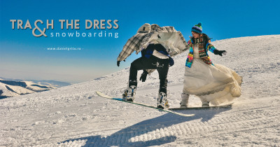 Sedinta foto trash the dress pe placa de snowboard
