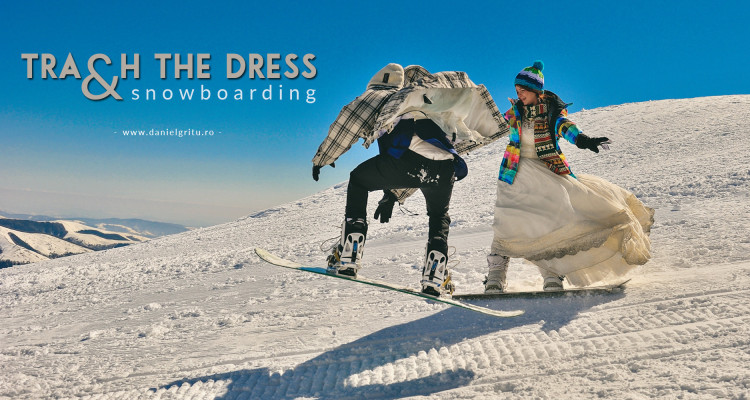 Sedinta foto trash the dress pe placa de snowboard
