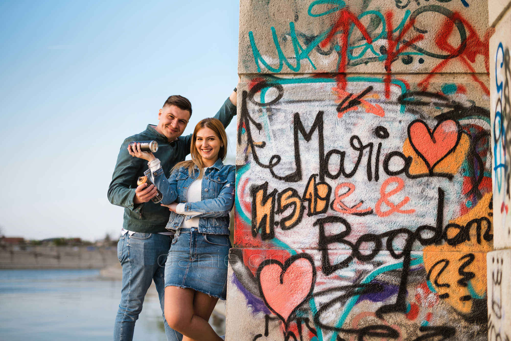 sedinta foto cuplu primavara graffiti lacul morii